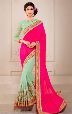 Incredible Deep Pink and Sea Green Designer Saree