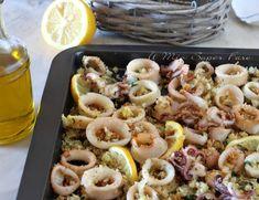 Calamari gratinati al forno con panatura al limone Shrimp Quesadilla, Quesadilla Recipes, Baby Octopus, Antipasto, Bread Crumbs, Pasta Salad, Seafood, Appetizers, Food And Drink