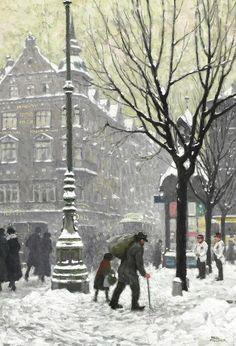 Winter Landscape, Landscape Art, Landscape Paintings, Landscapes, Victorian Street, Snow Art, Art Folder, Great Paintings, Old Fashioned Christmas