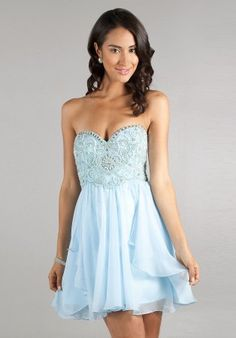 Ice Blue Strapless Beaded Short Prom Dresses