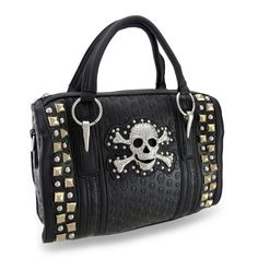 Embossed Skulls Studded Purse w/Rhinestone Skull and Removable Strap in Clothing, Shoes & Accessories, Women's Handbags & Bags, Handbags & Purses | eBay