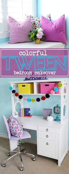 Tween Girl Bedroom Make-over with Purple and Turquoise Accents.  #PinkPeppermintDesign #interiordesign #bedroooms #homedecor  #TweenGirlsBedroom