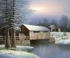 oil paintings of covered bridges | WINTER COVERED BRIDGE
