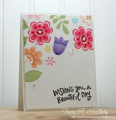 Here's my Muse card for this week! Tracey has given us a clean, fresh, happy inspiration: I focused on Tracey's: -floral theme -...