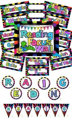 Brighten up your reading wall with these focus wall headers and banners (circles or pennants) in this bright colors and stars design.  Blank templates included.