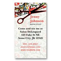 Hairstylist or hair salon business cards color both sides free cute retro vintage floral scissors hair stylist business card wajeb Images