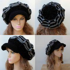 Black gray Visor hat slouchy beanie Newsboy cap crochet handmade