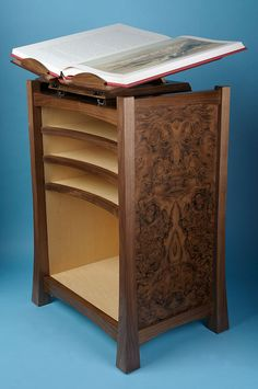 An antique book collector's walnut and maple book stand with revolving book cradle Walnut Cabinets, Book Stands, Antique Books, David Ames, Furniture Makers, Contemporary, Antiques, Devon, Storage