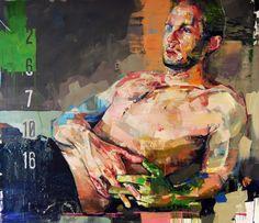 "ANDREW SALGADO 'Cinema', 2013, oil/spray on canvas, 63"" x 71"""