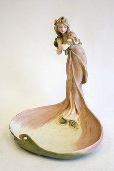 Art Nouveau Royal Dux figural centerpiece ..