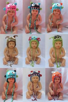 9 ideas monster hat for baby. Crochet Beanie Pattern, Knit Or Crochet, Crochet Toys, Crochet Patterns, Monster Hat, Crochet Kids Hats, Crochet Winter, Animal Hats, Newborn Crochet