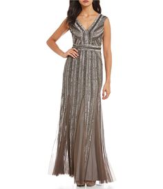 19f040e9174f8 Shop for Adrianna Papell Linear Beaded Gown at Dillards.com. Visit Dillards. com