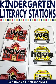 Literacy Centers for kindergarten or preschool are a fun way to manage your work stations. Use during reading groups with easy organization and rotation management. These are hands on for the beginning of the year when you are introducing the alphabet, writing, sight words or just with your struggling readers in first grade. Set up is easy and this back to school theme is perfect! Kindergarten Literacy Stations, Kindergarten Classroom, Literacy Centers, Alphabet Writing, Teaching Letters, Struggling Readers, Work Stations, First Grade Classroom, Reading Intervention