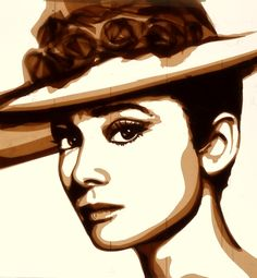 """""""Summer Breeze:  Audrey Hepburn"""" - Special Edition Tape Art by Max Zorn (2014);  9.75"""" x 9.75"""";   Zorn explains, """"The material I use is brown packing tape, which I stick on layers of thin acrylic glass sheets. The more layers of tape I add, the darker the shades on the artwork become. The different shades of brown allow me to shape out my scenes and portraits. I use an ordinary scalpel or X-Acto knife to cut and shape the layers of tape.""""    (Sold out)"""