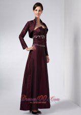 Elegant Pretty Burgundy Mother Of The Bride Dress Column Strapless Beading Ankle-length Taffeta - US$145.89  http://www.dresses100.com/new-arrival-mother-dresses_c25  2015 brand new weding dress for brides mother