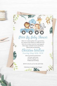 Drive by baby shower invitations for a sweet baby boy. Easily edit on zazzle.com and have them printed and shipped to your house! Zazzle offers affordable printed invitations so it saves you the hassle of DIY! Baby Shower Poems, Baby Boy Shower, Baby Showers, Super Cute Animals, Cute Baby Animals, Baby Shower Invitations For Boys, Business Ideas, Special Day, Shower Ideas