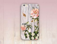 Floral Wood Print Phone Case iPhone 6 Case iPhone 5 by CRCases