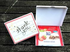 Anleitung Verpackung basteln für Schokolade (Ritter Sport)  Stampin´ Up! Watercolor Thank you