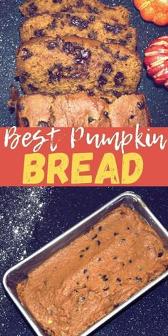 BEST Pumpkin Bread Recipe is a perfect mouthwatering fall recipe! This pumpkin spice loaf if full of melty chocolate chips and pumpkin spice! Chocolate Pumpkin Bread, Pumpkin Loaf, Moist Pumpkin Bread, Chocolate Desserts, Chocolate Chips, Pumpkin Spice, Banana Dessert, Pumpkin Dessert, Desserts For A Crowd