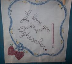 I love your for your lightsaber Hand Embroidered Handkerchief $20 #ibhandmade