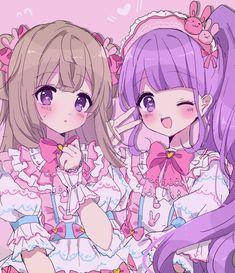 Chiri und Non - Pretty Rhythm Series - Phone Anime Best Friends, Anime Friendship, Cute Art, Kawaii Drawings, Anime Characters, Cute Drawings, Anime Drawings, Anime Sisters, Kawaii Art