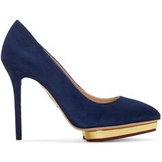 Charlotte Olympia Navy and Gold Suede Debbie Pumps (1,920 PEN) ❤ liked on Polyvore featuring shoes, pumps, gold pointy toe pumps, metallic gold pumps, heart pump, suede pointed-toe pumps and metallic pumps