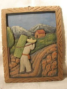 MEXICAN FOLK ART BAS RELIEF CARVED WOOD PICTURE 1940'S