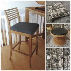 Tee-se-itse-naisen sisustusblogi: Reupholstered Chair And Sewing Basket Stool