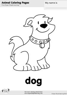 Free dog coloring page from Super Simple Learning. Tons of free animal worksheets and flashcards at www.supersimplelearning.com/resource-room. #kindergarten #preK #ESL