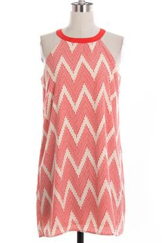 Destination Vacation Chevron Shift Dress - White + Coral - $40.00 | Daily Chic Dresses | International Shipping