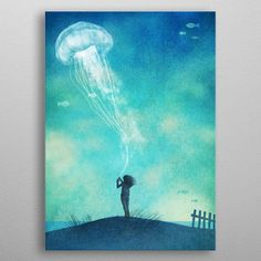 The Thing About Jellyfish My by Terry Fan metal posters is part of The Thing About Jellyfish My By Terry Fan Metal Posters - See amazing artworks of Displate artists printed on metal Easy mounting, no power tools needed Jellyfish Drawing, Watercolor Jellyfish, Jellyfish Painting, Jellyfish Tattoo, Jellyfish Kids, Beach Watercolor, Watercolour, Framed Art Prints, Poster Prints