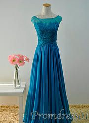 #promdress01 prom dresses - Elegant shot sleeve blue chiffon lace prom dress for teens, plus size dress 2015, custom made prom gown #coniefox #2016prom