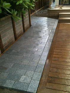 Stone setts are not just for country homes or traditional settings. These Silver Grey Sawn Granite Setts show how they can be incorporated into a contemporary design.