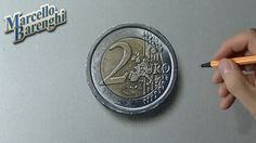 Drawing time lapse: 2 euro coin - hyperrealistic art