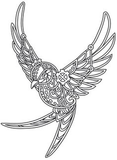 Bring a bit of steampunk's fearless spirit to everyday clothing and decor with this swallow design!