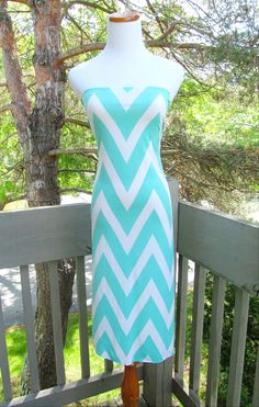 Tiffany Blue Chevron strapless summer dress timeless