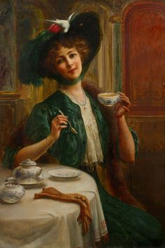 FASHION YOUNG LADY HAVING TEA HAT WITH BIRD PAINTING BY EMILE VERNON REPRO | eBay