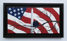 Patriotic Painting - Flag Painting - Red, White, and Blue Art - Bird Painting  by LF Gallery