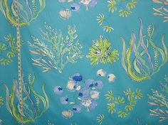 Blue coral fabric tropical seashell turquoise green from Brick House Fabric: Novelty Fabric