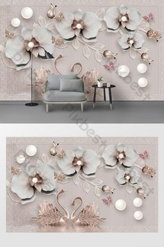 Modern 3d luxury raspberry swan romantic TV background wall#pikbest#decors-models Luxury Flowers, 3d Background, 3d Wall, Gold Fashion, Sign Design, Swan, Orchids, Wall Decor, Romantic