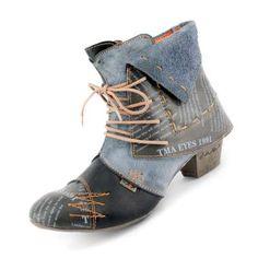 TMA Maia Echtleder Stiefeletten in Cowboy-Look. Kräftige Farben, mit Einsätzen im Vintage-Design. Ausgefallen, stylisch schön, leicht und super beque… Schuster, Super, Booty, Ankle, Vintage, Design, Fashion, Bold Colors, Loafers