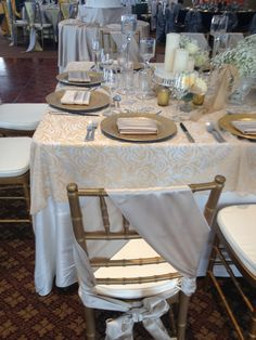 Chair sash, gold and ivory wedding- From The Bertram Bridal Show 2013