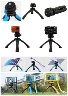 """#PT310 mini tripod Suitable for smartphone, table, compact cameras and action-cams Enormously multifunctional table-top tripod, fits into every bag and is ready to use within seconds Incl. integrated mini ball head with 360° rotation and ± 90° inclination Usable as table-top tripod and steady cam for videos 1/4"""" screw thread, small ball head and spirit level Ideal for travel and outdoor activities   Material plastic"""