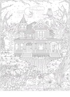 Haunted House, Victorian House, Adult Coloring Page, ColoringBookByKristi