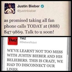 Ohh Justin, you are just too awesome. That's right, you don't mess with Beliebers, we are better than the CIA.