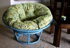 refinishing a papasan chair - I especially like her instructions for the cushion!
