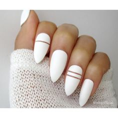 White Matte Stiletto Nails ($14) ❤ liked on Polyvore featuring beauty products and nail care