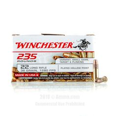 Winchester 22 LR Ammo - 235 Rounds of 36 Grain CPHP Ammunition #Winchester #WinchesterAmmo #22LRAmmo #22LR #FMJ