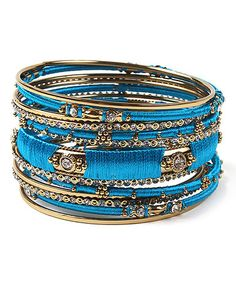 Love this Austrian Crystal & Turquoise Ankara Bangle Set on #zulily! #zulilyfinds