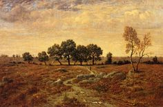 Theodore Rousseau Lande de la Glandee, Forest of Fontainebleau hand painted oil painting reproduction on canvas by artist Theodore Rousseau, Oil Painting Basics, Barbizon School, Jean Baptiste, Manet, Art Database, Oil Painting Reproductions, Realism Art, Hand Painted